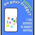 Storytime Standouts suggests 7 learning activites using magnetic letters