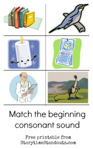 Storytime Standouts free phonemic awareness printable Match the Beginning Consonant Sound