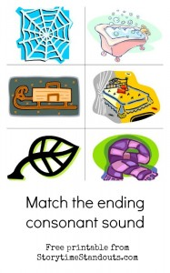 Match the ending consonant sound printable from Storytime Standouts