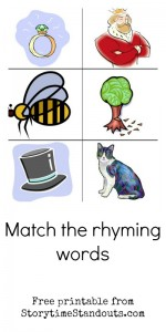 Free printable rhyming words for homeschool, preschool and kindergarten