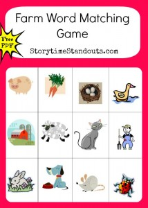 Free printable farm word match game for beginning readers