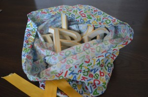 The inside of the letter learning bag - I use four or five wooden letters