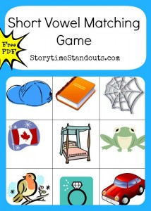 Free printable short vowel matching game for beginning readers