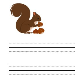 image of squirrel writing paper for kids