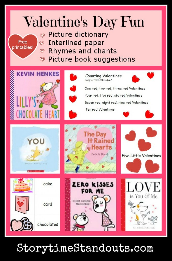 Storytime Standouts selection of Valentine's Day theme picture books and free printables for homeschool, preschool, kindergarten
