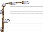 Free printable Pussy Willow Writing Paper for Preschool and Kindergarten
