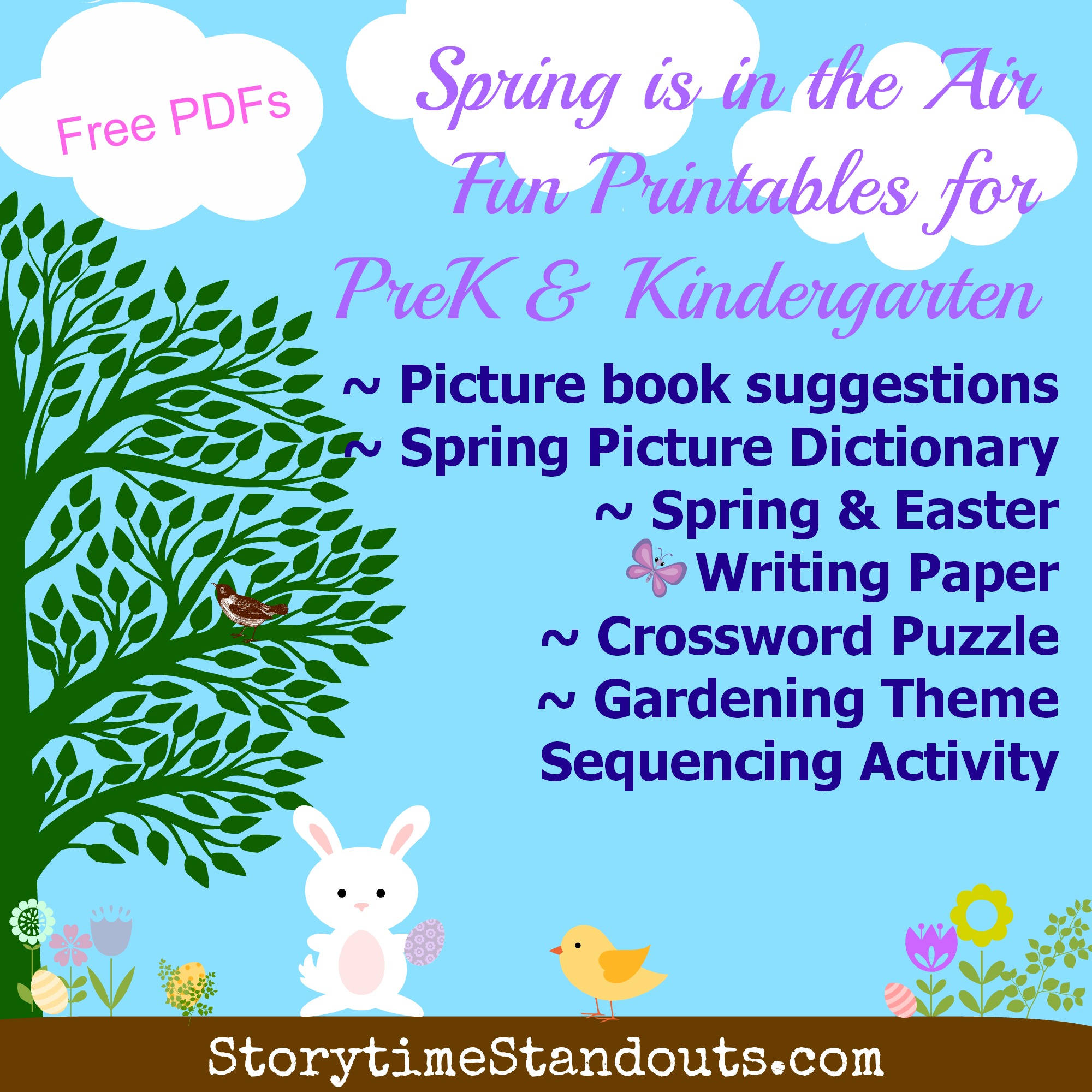 Storytime Standouts' Spring and Easter Prek kindergarten Theme Printables
