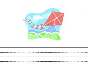 image of kite theme writing paper for kids