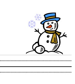 image of winter snowman writing paper for kids