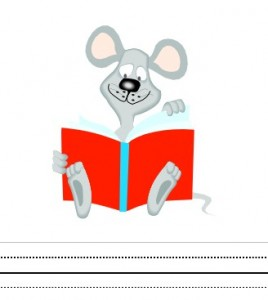 Free printable interlined writing paper including a cute mouse with books