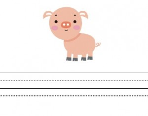 Free printable writing paper for kids including Pig Theme