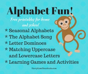 Alphabet Printables for Home and School including printable alphabets, The Alphabet Song, letter learning games
