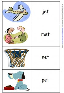 Free word family printables using short E