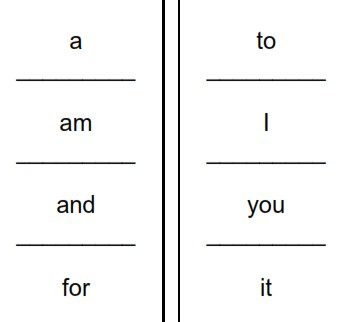 image of printable sight words