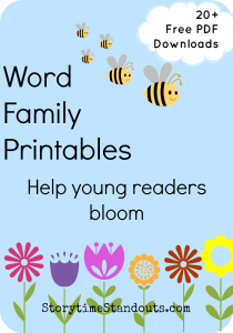 Storytime Standouts shares 21 free word family printables for homeschool and classroom