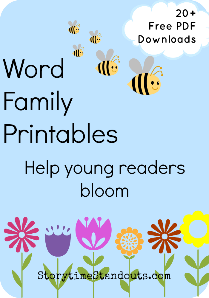 Storytime Standouts free word family printables for kindergarten