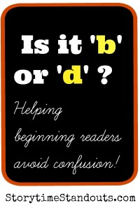 Storytime Standouts suggests ways to help preschool and kindergarten children with b d confusion
