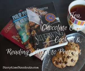 Storytime Standouts shares ideas about reading aloud to preteens and a great chocolate chip cookie recipe.