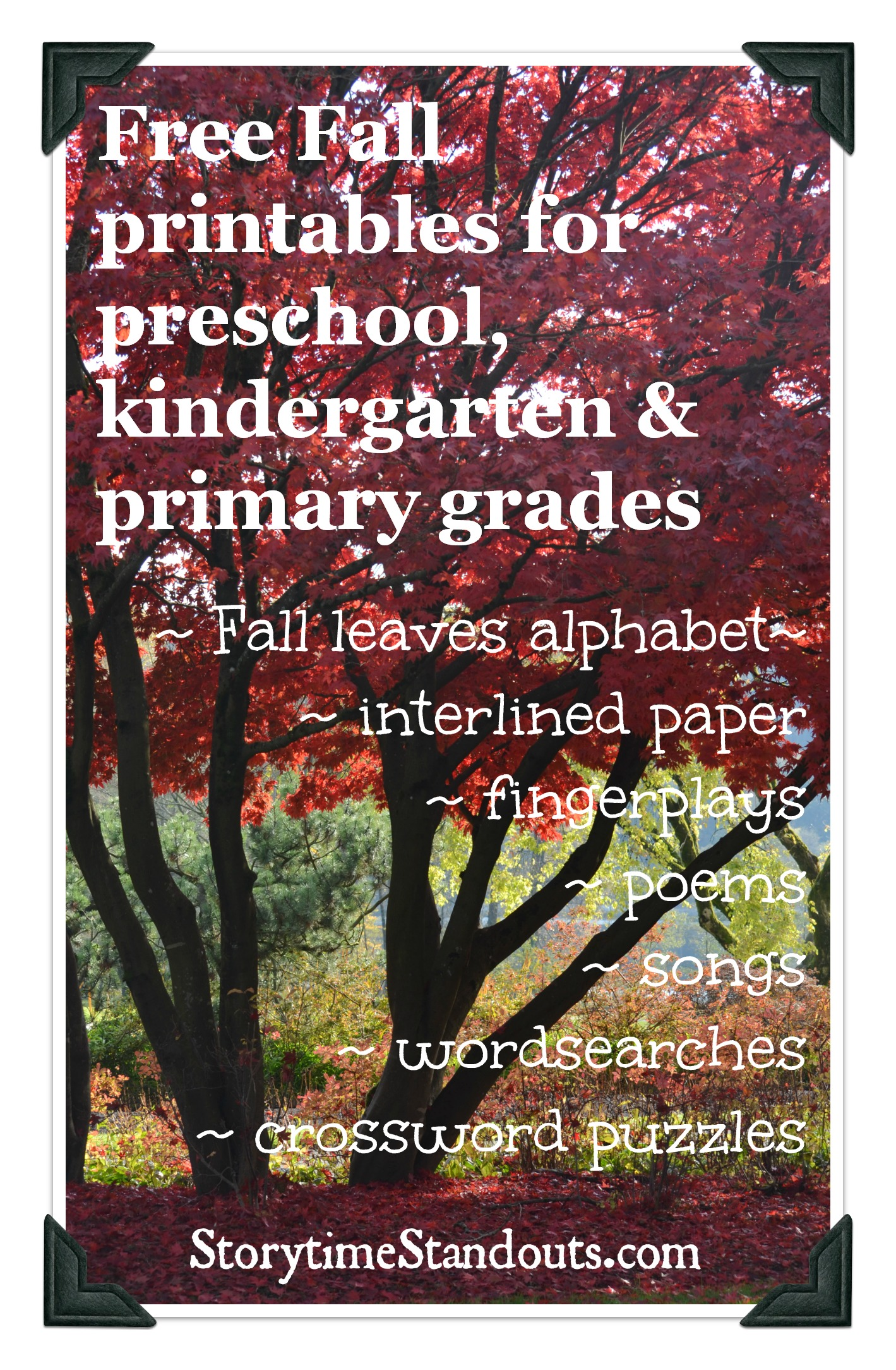 Storytime Standouts Fall printables for preschool and kindergarten
