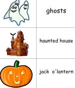 Free printable Halloween picture dictionary for homeschool, ESL and kindergarten