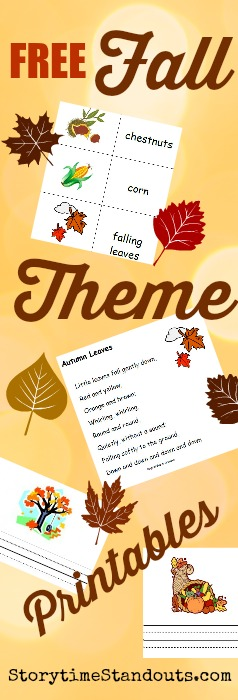 Free Fall-theme homeschool, kindergarten and preschool printables for beginning readers and writers