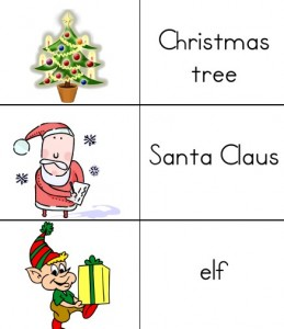 Free printable Christmas word list for ESL and Homeschool