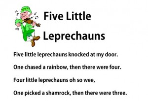 Free printable Five Little Leprechauns fingerplay for St. Patrick's Day Preschool Kindegarten from Storytime Standouts