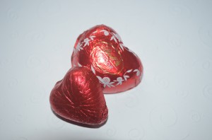 image of foil wrapped chocolate hearts