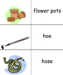 Free printable picture dictionaries for young writers and ESL students including gardening-theme vocabulary