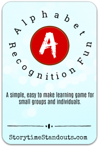 Storytime Standouts shares an easy to make alphabet recognition learning game.