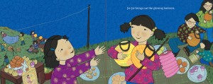 image of spread Thanking the Moon a Mid-Autmn Moon Festival Picture Book