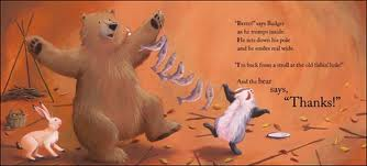 Thanksgiving theme picture book about generosity and gratitude, Bear Says Thanks