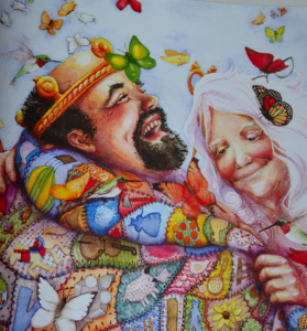 spread from a picture book about generosity and giving The Quiltmakers Gift