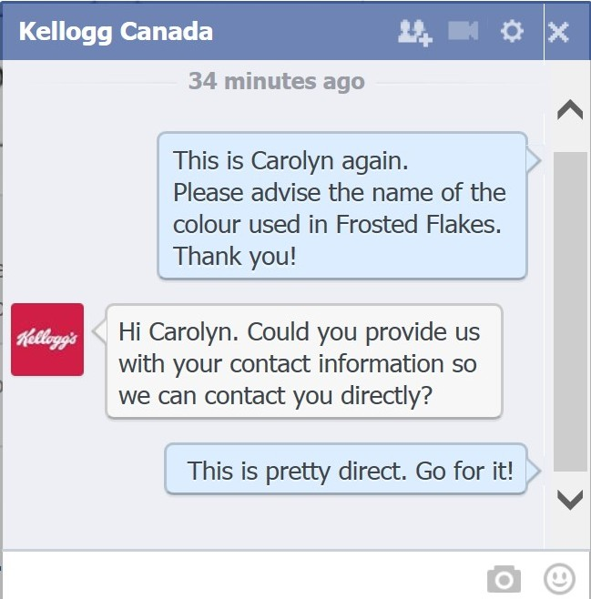 Kelloggs Facebook Direct Message About Food Dyes