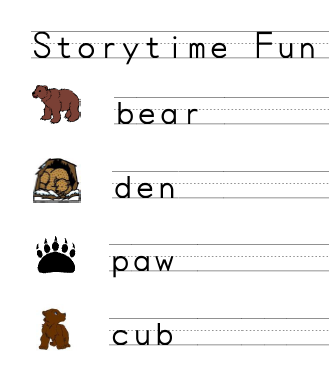 Bear-theme vocabulary printing page included in Storytime Fun with Bears from StorytimeStandouts.com