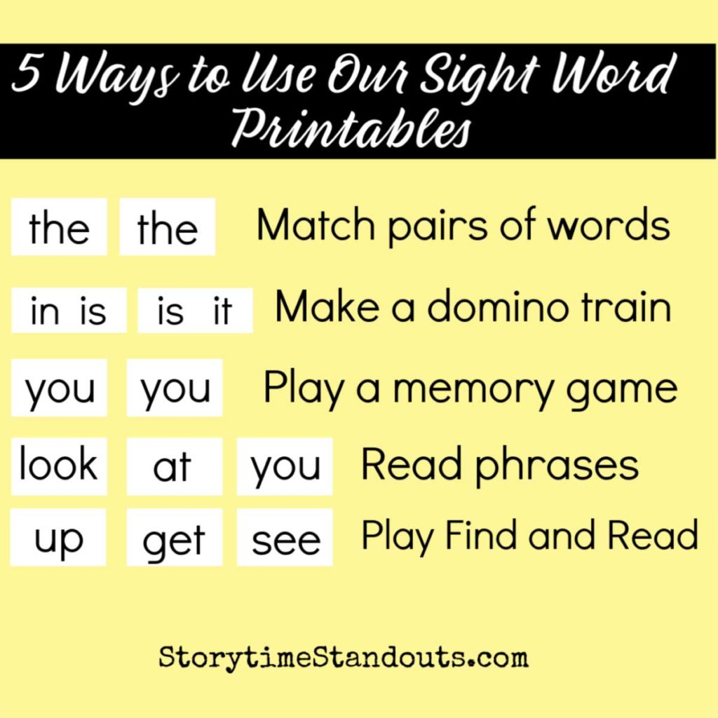 Simple, easy to use sight word games for home practice