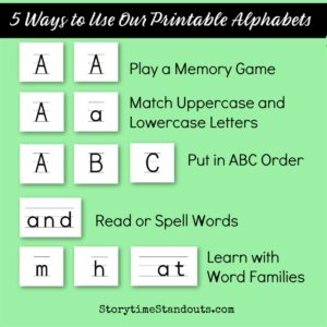 StorytimeStandouts suggests ways to use free printable alphabets
